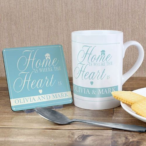 Personalised Home Is Where... Mug & Coaster Set